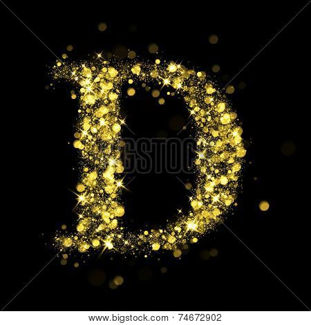 Sparkling Letter D on black background. Alphabet of golden glittering stars (glittering font concept). Christmas holiday illustration of bokeh shining stars character..