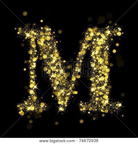 Sparkling Letter M on black background. Alphabet of golden glittering stars (glittering font concept). Christmas holiday illustration of bokeh shining stars character..