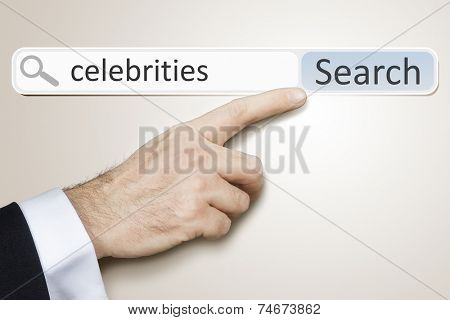 An image of a man who is searching the web after celebrities