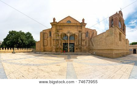 Panorama of Cathedral of Santa Maria la Menor in the Colonial Zone of Santo Domingo Dominican Republ