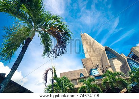 Palm tree in front of basilica La Altagracia Church in Higuey Dominican Republic
