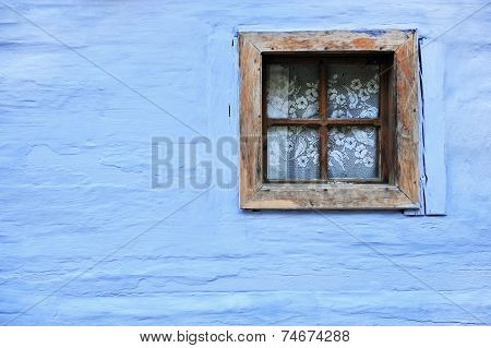 Old Wooden Window On Blue Wall