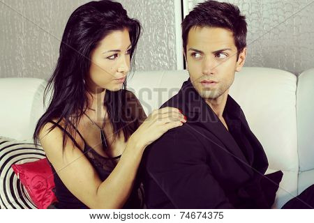 young couple trying to come to terms