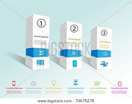 Technology info graphics with web flat icon collection