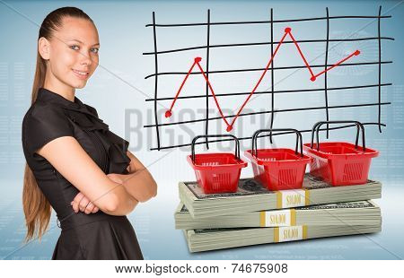 Businesswoman and dollar packs with shopping bags