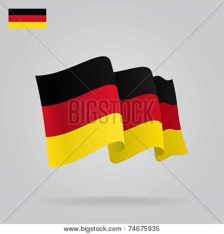 Flat and waving German Flag. Vector