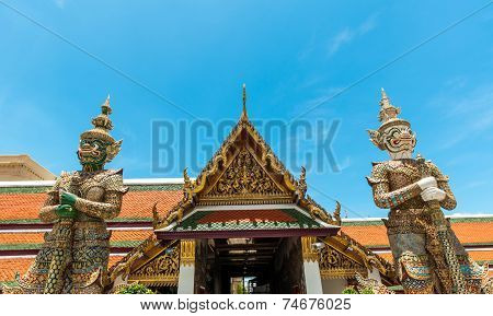 Wat Phra Kaew Deamon Guard Sculpture Kings Palace Ancient Temple Bangkok In Thailand.