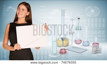 Businesswoman hold paper sheet. Flasks chemistry lab