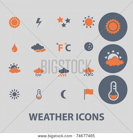 weather, climate icons, signs, illustrations set, vector