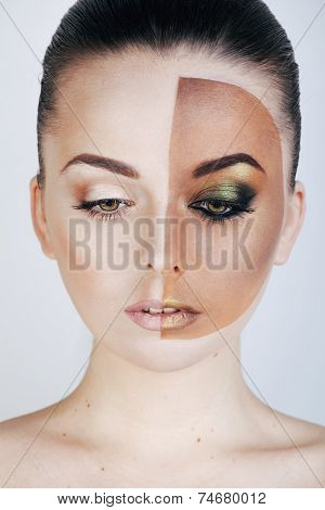 half faced woman before tanning and after, creative make up