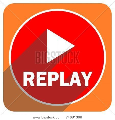 replay red flat icon isolated