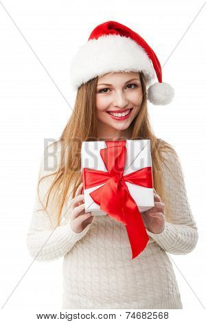 woman hold christmas gift on white background