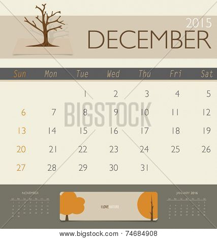 2015 calendar, monthly calendar template for December. Vector illustration.