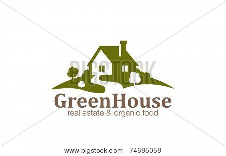 Real Estate House Logo design vector template. Organic Natural Farm Logotype. Eco green nature village concept icon.