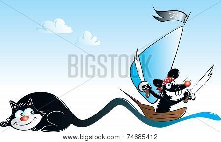 Black Cat And Pirate Mouse