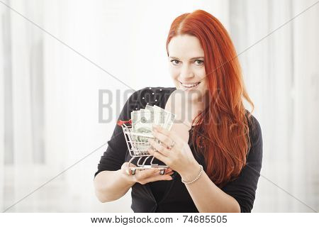 Girl With Mini Shopping Cart Trolley And Dollar Bank Note