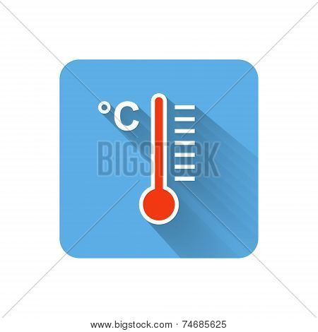 Flat Thermometer Icon. Celsius Scale. Vector Illustration