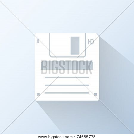 Flat Floppy Disk Icon. Vector Illustration