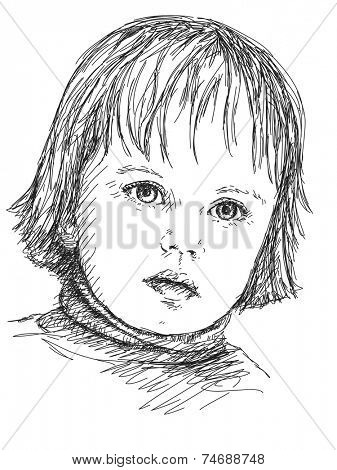 Child girl portrait, Hand drawn illustration sketch
