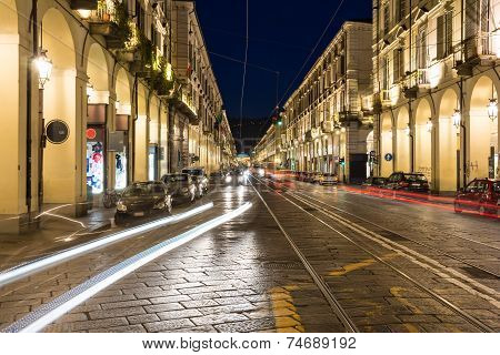 The Po street by night, Turin