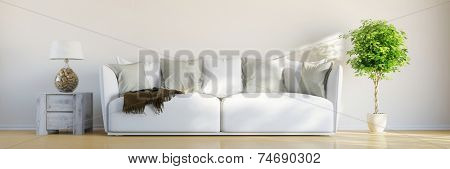 Panorama of sofa in a bright room in front of wall with tree and lamp (3D Rendering)