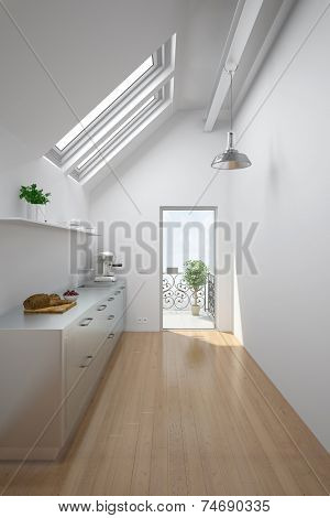 Bright room in an attic with kitchen and balcony (3D Rendering)