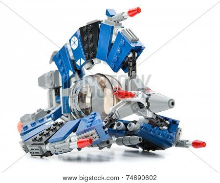 Ankara, Turkey - February 03, 2013: Lego Star Wars Droid Tri-Fighter which is real threat to the Republic during the Clone Wars isolated on white.
