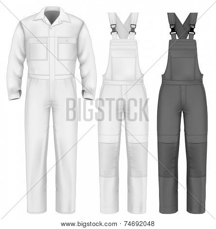 Men's overalls design template (front view). Illustration contains gradient mesh. Photo-realistic vector illustration.