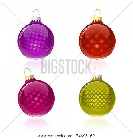 Christmas balls. Christmas baubles with reflection. Vector illustration