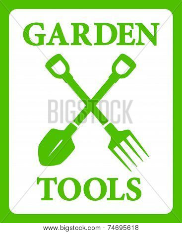 Green Background With Tools For Gardening Work