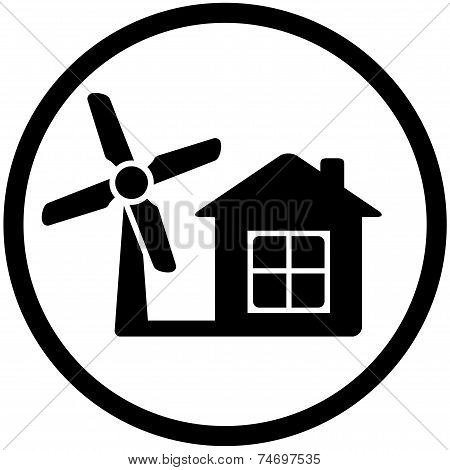 Round Wind Mill Icon For Home Alternative Power