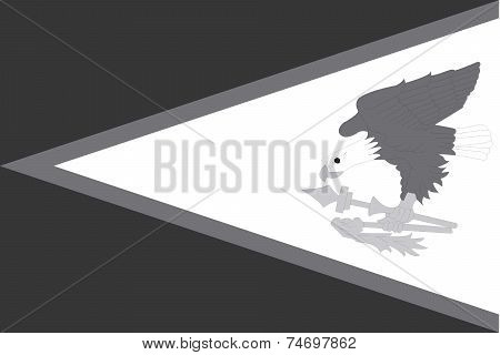 Illustrated Grayscale Flag Of The Country Of American Samoa