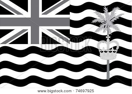 Illustrated Grayscale Flag Of The Country Of British Indian Ocean Territory