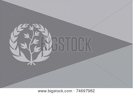 Illustrated Grayscale Flag Of The Country Of Eritrea