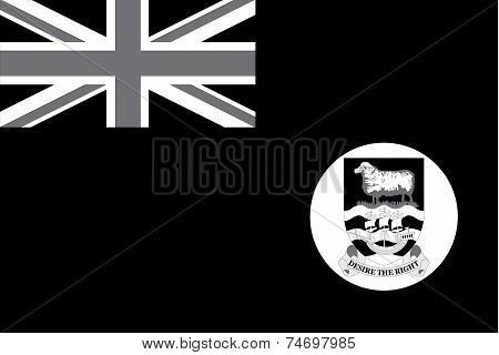 Illustrated Grayscale Flag Of The Country Of Falkland Islands