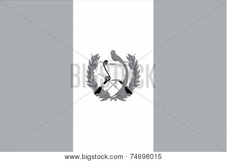 Illustrated Grayscale Flag Of The Country Of Guatemala