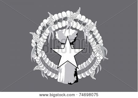 Illustrated Grayscale Flag Of The Country Of Marianas
