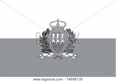 Illustrated Grayscale Flag Of The Country Of San Marino