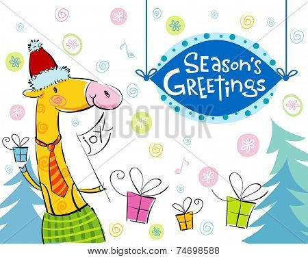 Seasonal greetings, illustration of cute giraffe. For banners, backgrounds, presentations, decorations.