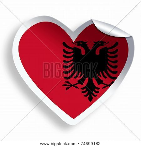 Heart Sticker With Flag Of Albania Isolated On White