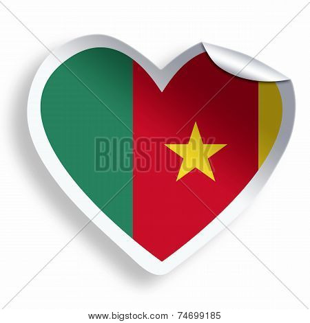 Heart Sticker With Flag Of Cameroon Isolated On White