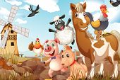 stock photo of sheep-dog  - Illustration of many animals in a farm - JPG