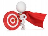 stock photo of cloak  - 3d man brave superhero with red cloak stand near red aim target with three arrows - JPG