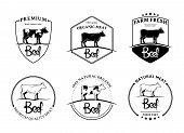 foto of handwriting  - Vector vintage beef labels - JPG