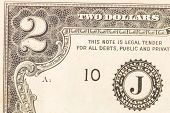 image of two dollar bill  - Close up of american two dollar bill - JPG