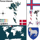 stock photo of faroe islands  - Vector map of Faroe Islands with coat of arms and location on world map - JPG