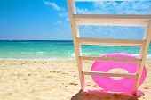 picture of stairway to heaven  - pink ring with stairway on sunny beach - JPG