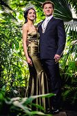 pic of tiara  - Gorgeous lady in long evening dress and with tiara on a head and handsome man in classic suit - JPG