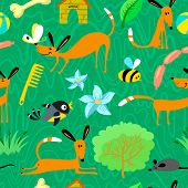 foto of bird-dog  - Cute seamless pattern with dogs and birds - JPG