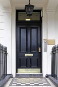 picture of victorian houses  - Black door at Victorian house in London - JPG